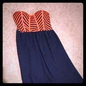 Strapless Maxi Dress: Navy & Coral
